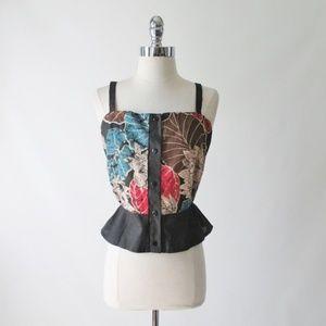 Vintage 70's Batik Hippie Top Blouse Shirt L